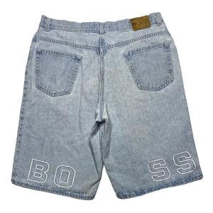 Vintage 90s Mens BOSS Spell Out Denim Jean Shorts